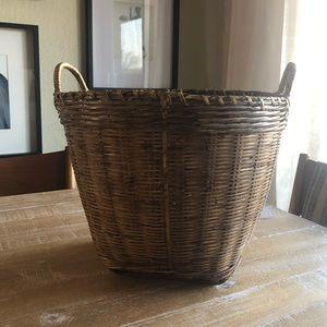Vintage Natural Rattan Basket with Handles